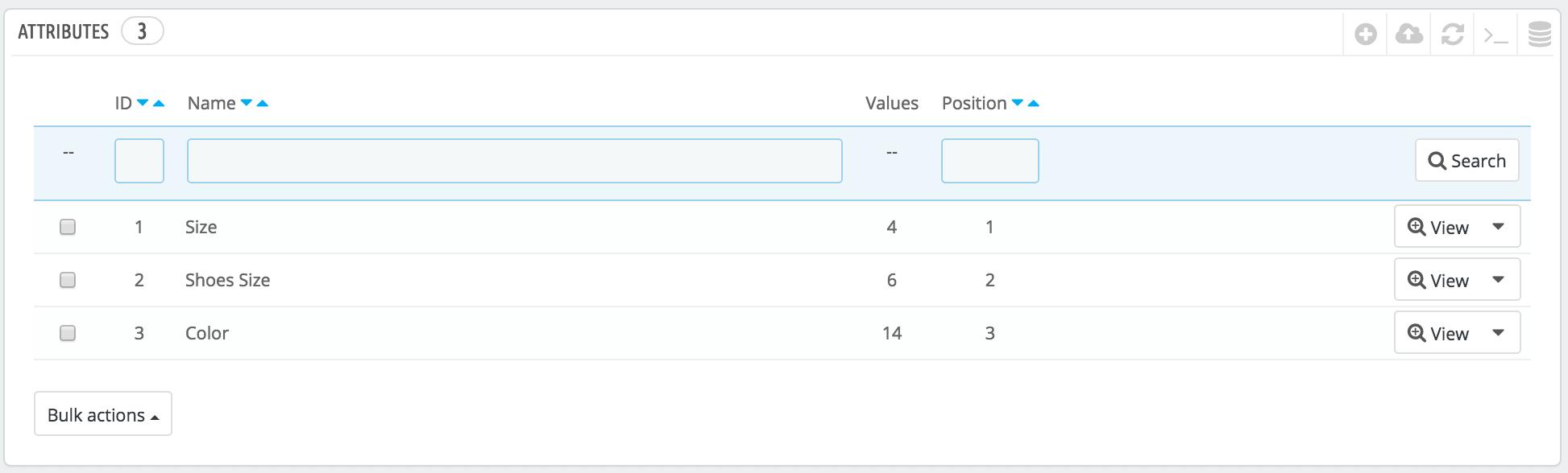PrestaShop Attributes List