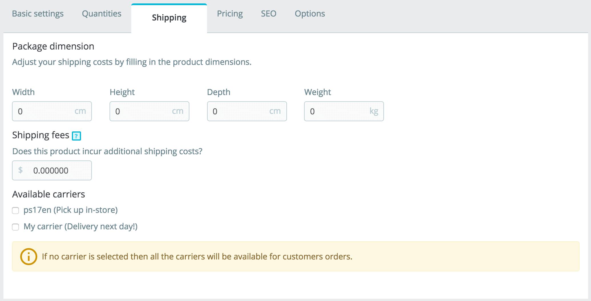 prestashop shipping tab