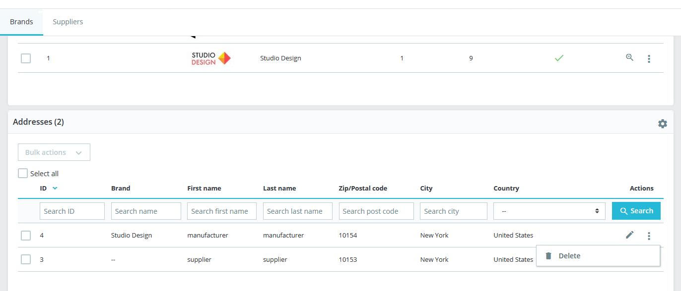 PrestaShop delete brand address