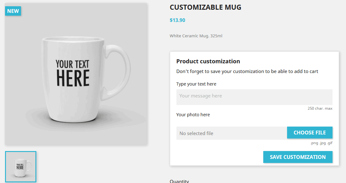 PrestaShop product customization frontend