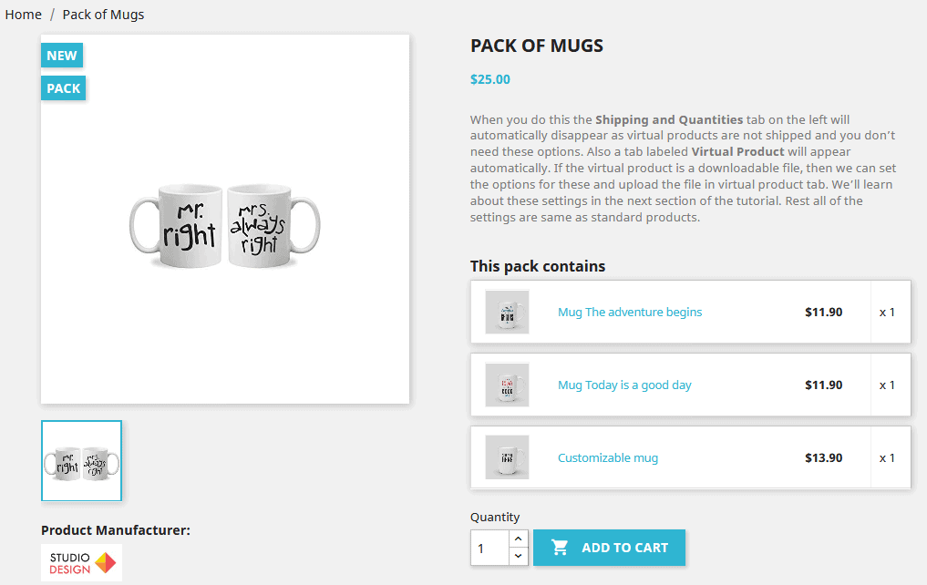 PresatShop product pack frontend