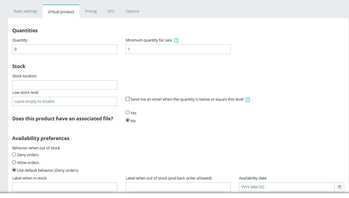 PrestaShop virtual product tab
