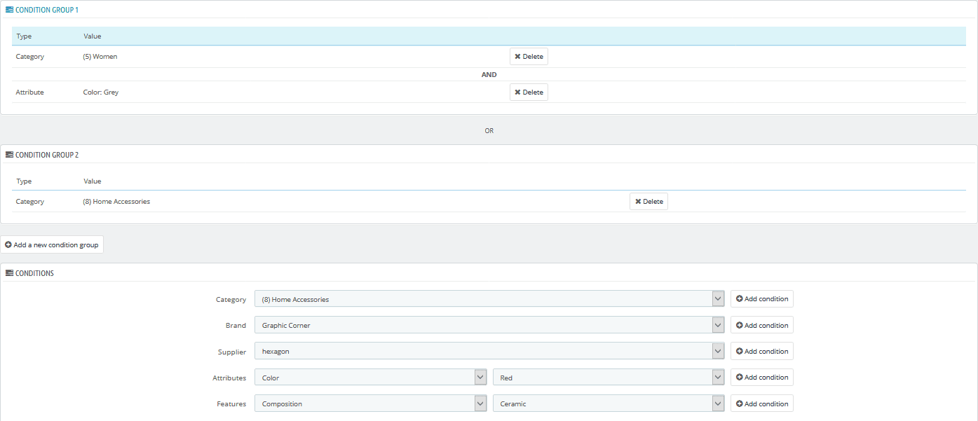 PrestaShop catalog price rule condition groups