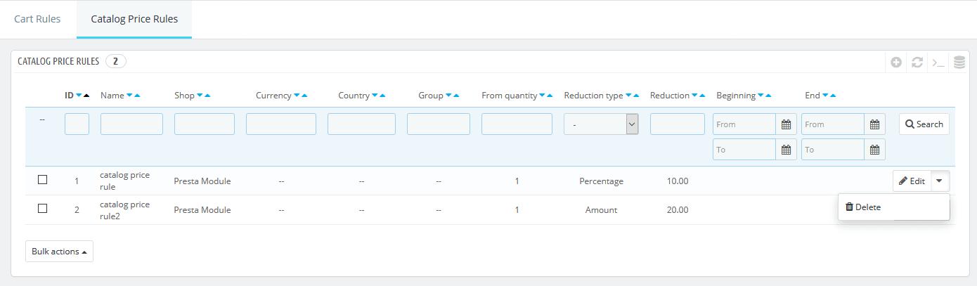 PrestaShop delete catalog price rule