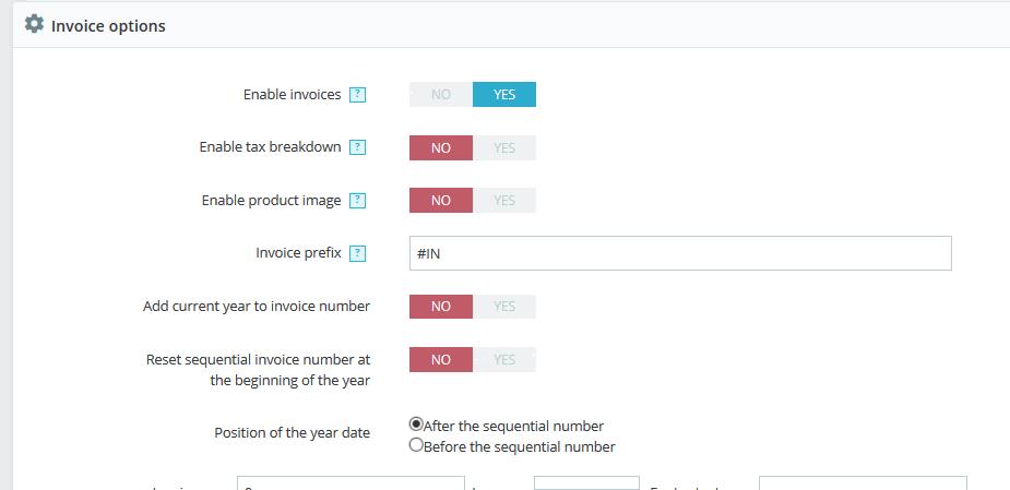 PrestaShop Invoice Options