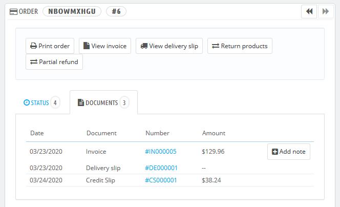 PrestaShop order credit slip