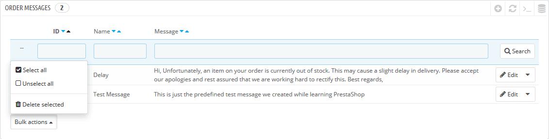 Order messages bulk delete