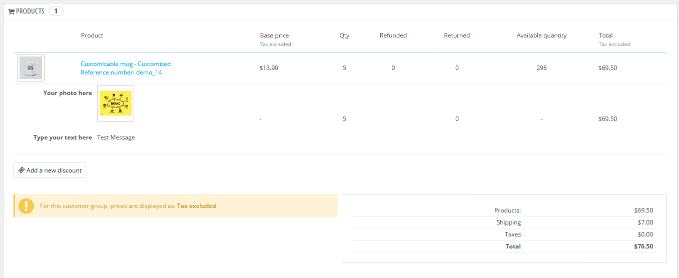 PrestaShop orders products section