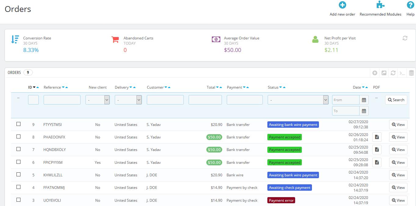 PrestaShop Orders Page
