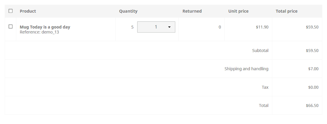 PrestaShop return products frontend