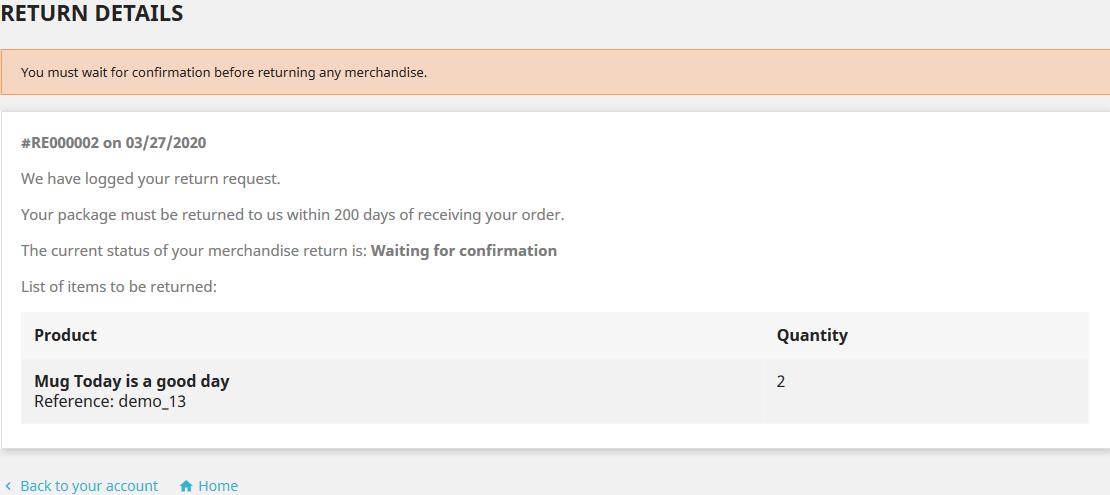 PrestaShop returns details