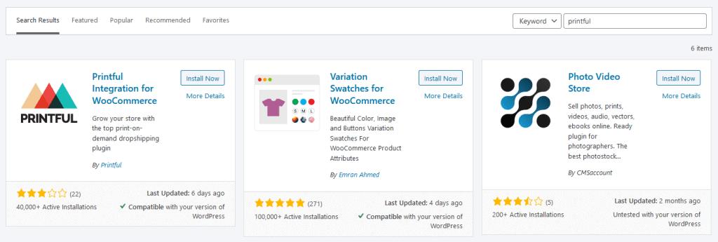 WordPress install printful
