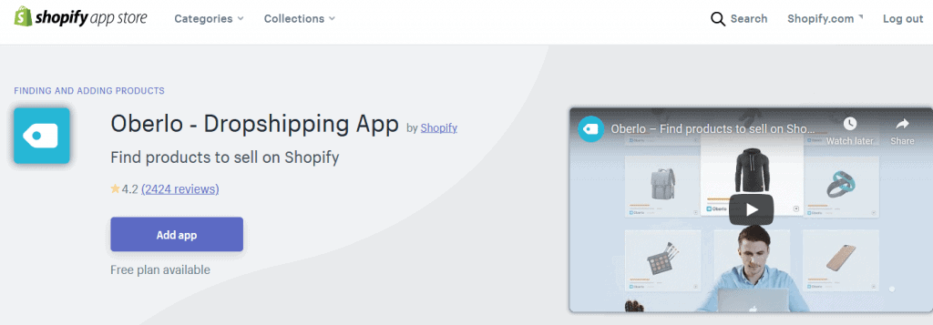 Oberlo ‑ Dropshipping App