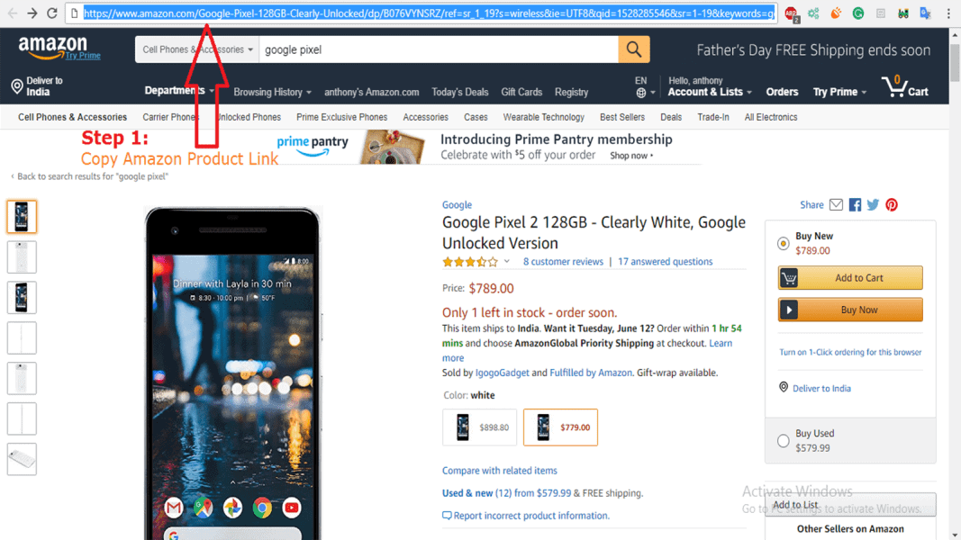 copy the Amazon product Link