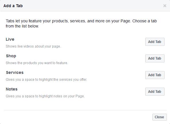 facebook add tab