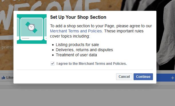 facebook shop start