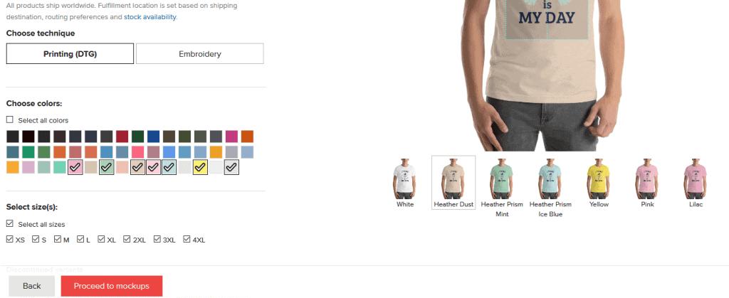 Printful Select Colors