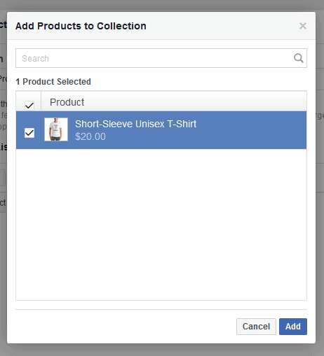 FB Store add products to collection