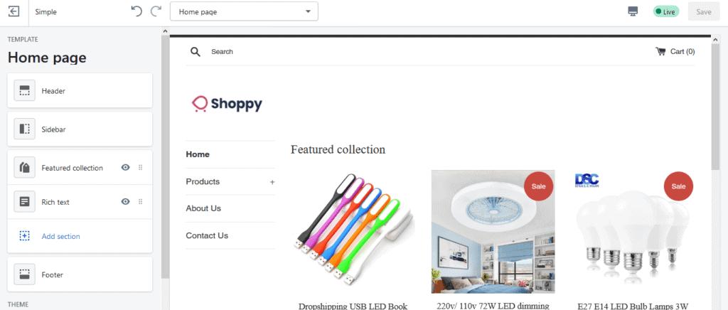 Shopify theme setting