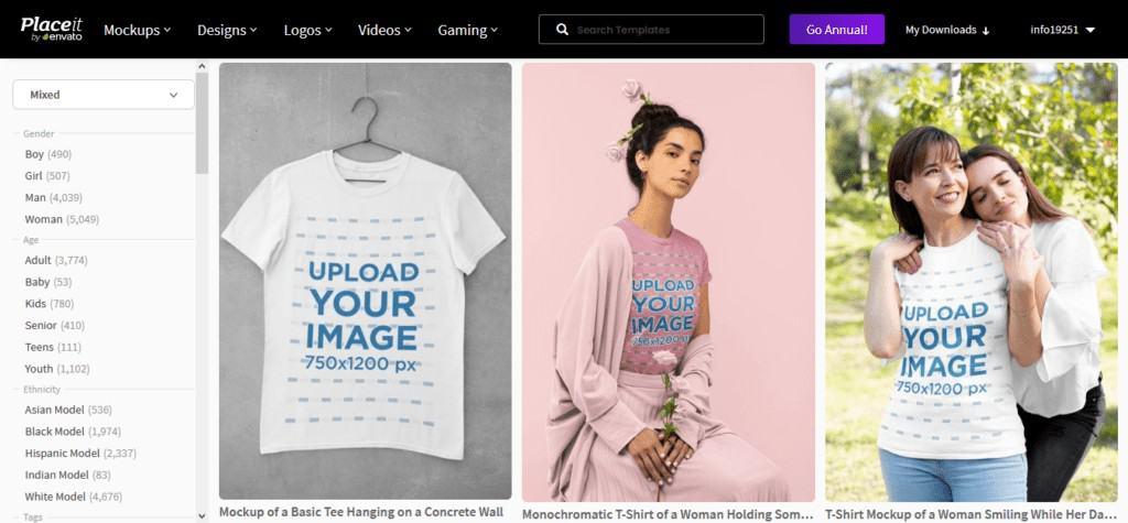 placeit t-shirt mockups