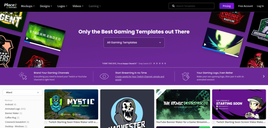 Placeit gaming