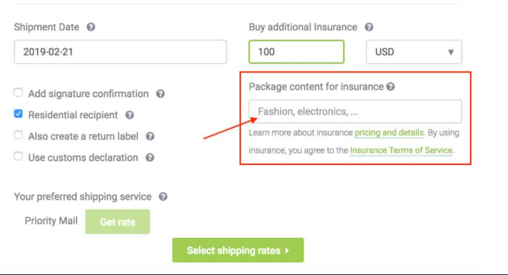 Package content for insurance