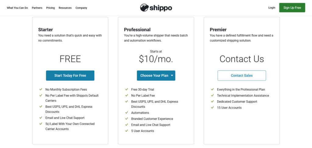 Shippo pricing plans