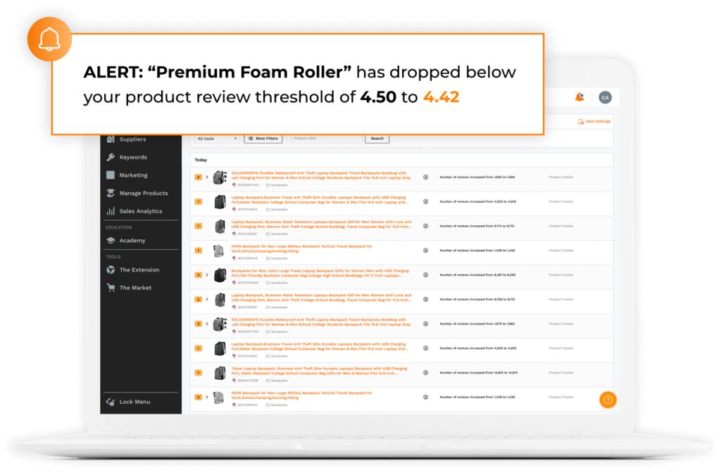 alerts track product review changes