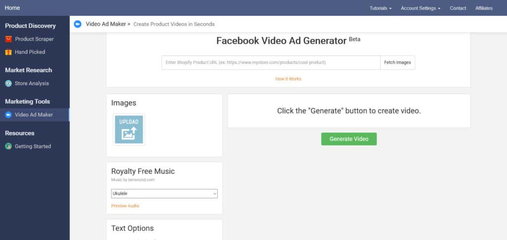 Niche Scraper Facebook video ad generator
