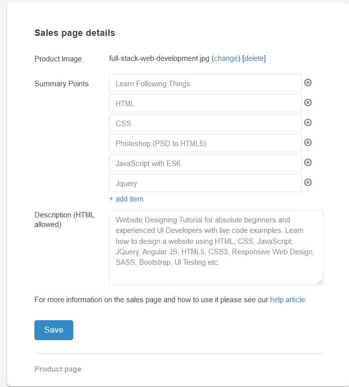 SendOwl sales details page