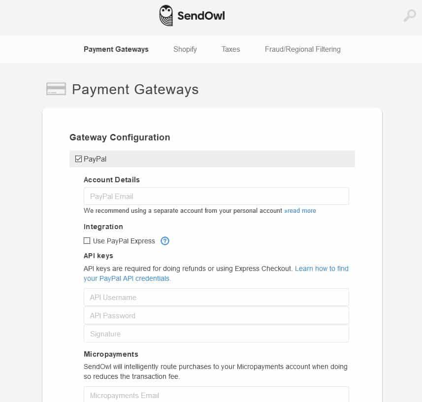SendOwl paypal settings