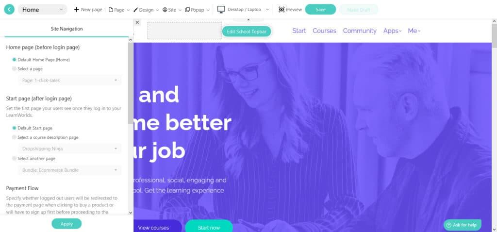 LearnWorlds Site navigation