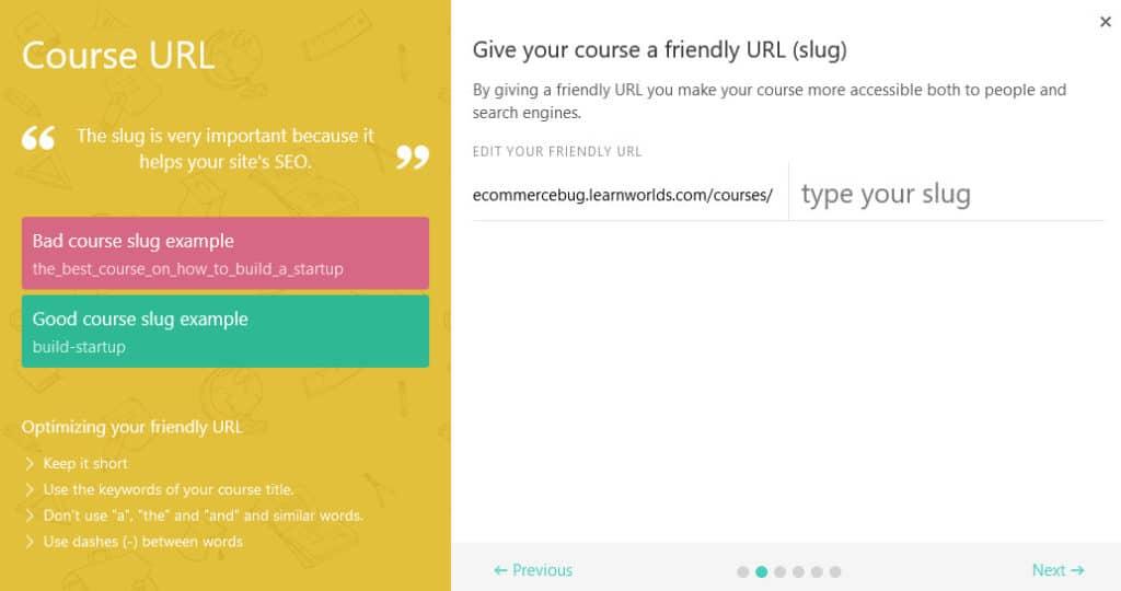 LearnWorlds course url