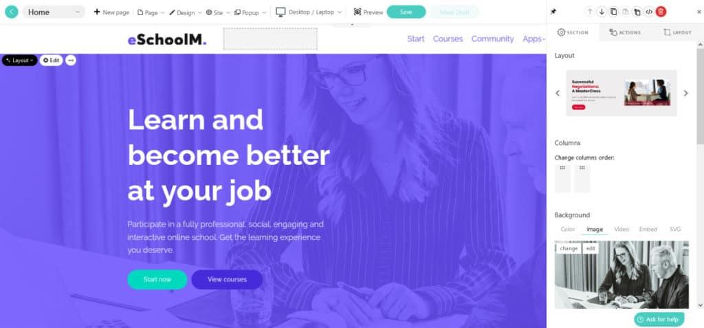LearnWorlds edit school site