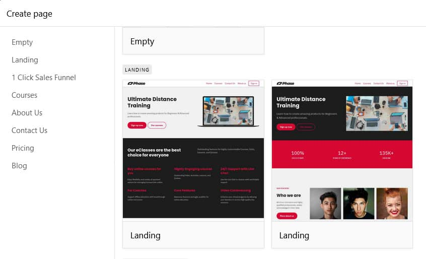 LearnWorlds Landing Pages